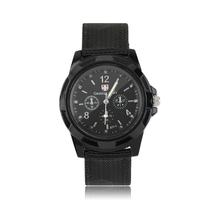 Unique Design Men's Quartz Wristwatch Canvas Strap Band Army Military Sport Watches Best Gifts(China)