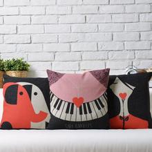 Black Melody  Nordic   Love cute cartoon Linen pillow  cushion  Square Pillowcases Home Decor sofa cushions