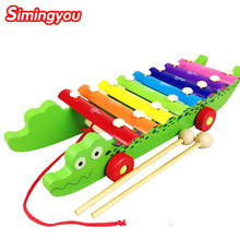 Simingyou Crocodile Knock On Piano Baby Kids Wooden Toddler Learning Education Musical Toy MZ03(China)