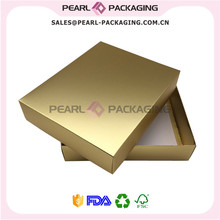 Metallic Gold Color Apparel Packaging Box, Matte Gold Clothes Box with Lid, Custom Logo Print Box for Shirts(China)