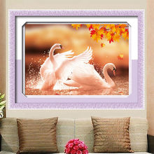 Needlework 5D DIY Diamond Painting Cross Stitch Diamond Embroidery Animals Autumn Lover Swans patterns rhinestone Mosaic Picture(China)