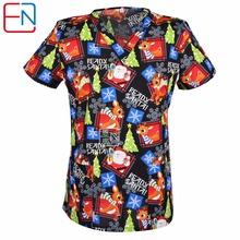 Hennar 5 DESIGNS IN Hennar Brand medical scrub tops surgical scrubs,scrub uniform 100% print cotton christmas design medical uni(China)