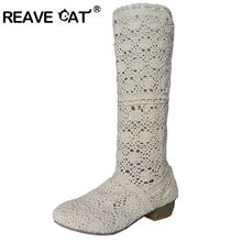 REAVE CAT Mesh Spring Summer boots Cutout shoes Women shoes Ankle boots Square heels Black Brown White Cloth Sale on Fashion