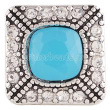 Wholesale 20MM Square snap Silver Plated with Blue resin and clear rhinestones snaps jewelry KC6187
