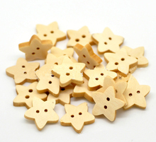 13*13mm Natural Wood Sewing Buttons Scrapbooking Stars Shape 2 Holes Wood Children DIY Craft Accessory