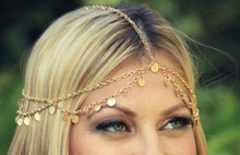 2016 Women New Design Charming Hot Gold Tone Circle Drop Charm Tassels Head Chain Headband Headpiece Hair band Free Shippiing