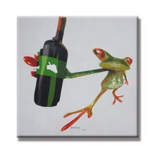 Sunflower Art A Frog Holding a Wine Bottle Funny Animal Paintings 100% Handpainted Canvas Oil Paintings Wood Stretched Home(China)
