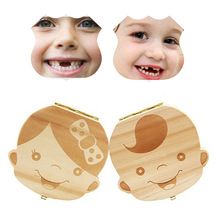 Spanish/English language Wood Tooth Box Organizer Save Milk Teeth Wood Storage Collecting Teeth Gifts Umbilical Cord Lanugo