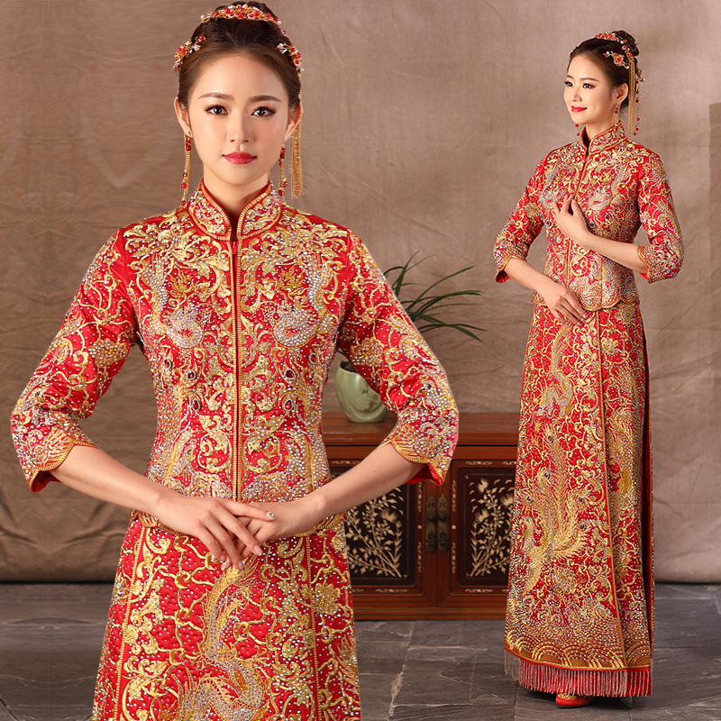 Royal Marriage Suit Elegant Women Rhinestone Qipao Dragon&Phoenix Chinese Bride Wedding Cheongsam Embroidery Evening Dress