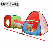 3-Piece Children Play Tent Baby Toys Set of Square Cubby  Children's house Game Triangle Cubby and Spring-Pop Tunnel Ball pool