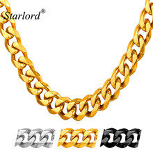 Starlord Cuban Chain For Men Hip Hop Jewelry Big Chunky Necklace 9MM Stainless Steel Black Gun/Gold Color Chain GN2279(China)