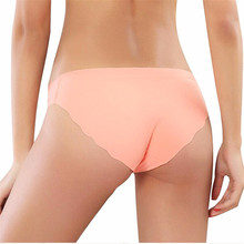 Buy Women Brief Original New Ultra-thin Seamless Traceless Sexy Lingerie Trimming Ruffles Underwear M/L/XL Plus Size PINK Panties
