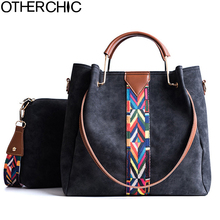OTHERCHIC High Quality Women Double Bag Suede Leather Tote Bag Set Messenger Crossbody Bags Metal Handle Handbag Women L-7N10-07(China)