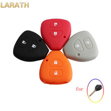 LARATH 2 Buttons Silicone Car Key Case Shell Cover For TOYOTA Corolla Hilux Vitz Rav4 Aqua Camry 4 Colors
