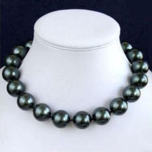 "FREE SHIPPING>>>@@ > 14mm Black AAA South Sea Shell Pearl Necklace 18"" AAA style Fine Noble real Natural &"