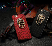 Luxury 3D Lion Head Metal Ring Holder Stand Phone Cases For iPhone 6 6s case 4.7/Plus 5.5 Cool Hard Kickstand Back Cover Case