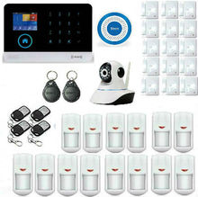 House intelligent Auto Burglar Door Security Alarm Systems RFID WIFI GSM SMS Alarm Kits Mainframe Kits With IP Camera Monitoring