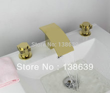Free shipping hot sale discount polished brass Torneira Banheiro,deck mounted dual handles bathroom waterfall faucet mixer tap