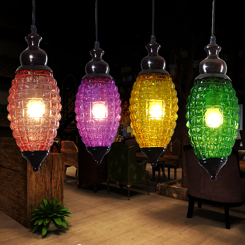 Loft Retro Tree Glaze Glass Pendant Lamp Lights Cafe Bar Art Childrens Bedroom Balcony Hall Shop Aisle Droplight Decoration <br>