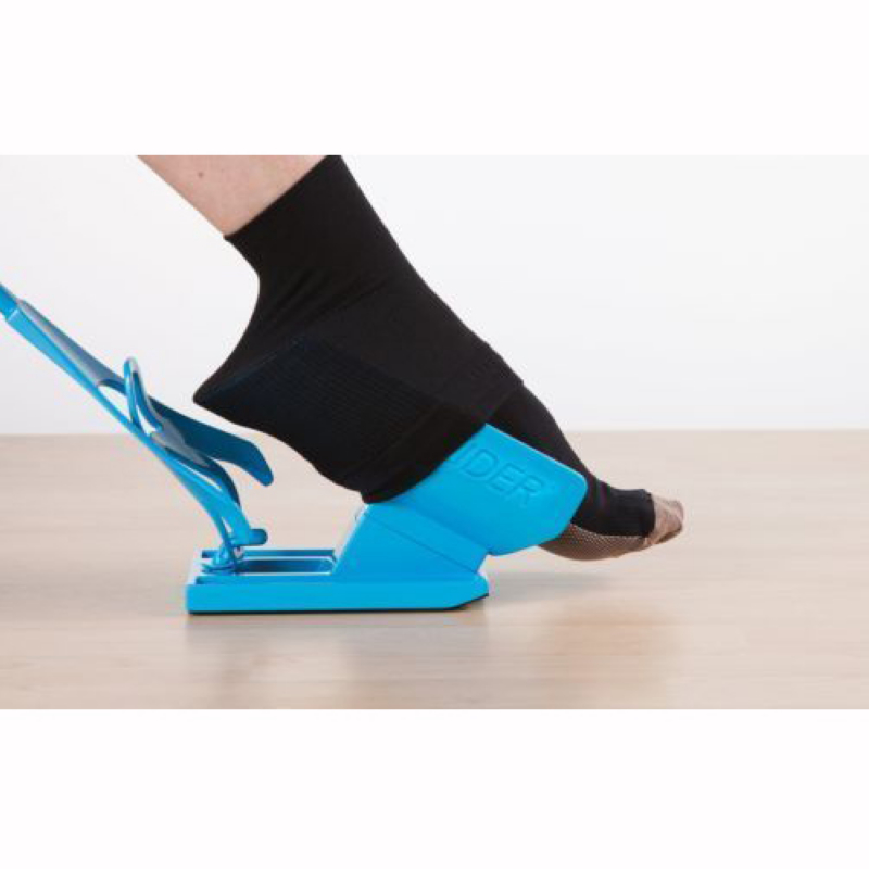 Mayitr 1pc Sock Slider Aid Blue Helper Kit Helps Put Socks On Off No Bending Shoe Horn Suitable For Socks