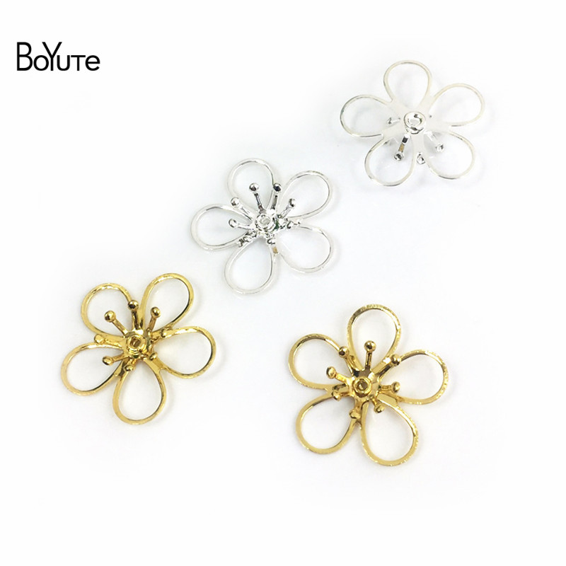 BoYuTe 50Pcs Metal Brass Stamping Filigree Flower Accessories Parts for Bridal Hair Jewelry Making (3)