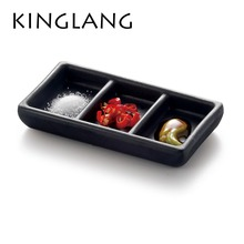 Korean restaurant Canteen hotel hotpot one person use sauce plate 3-sections salt bowl box