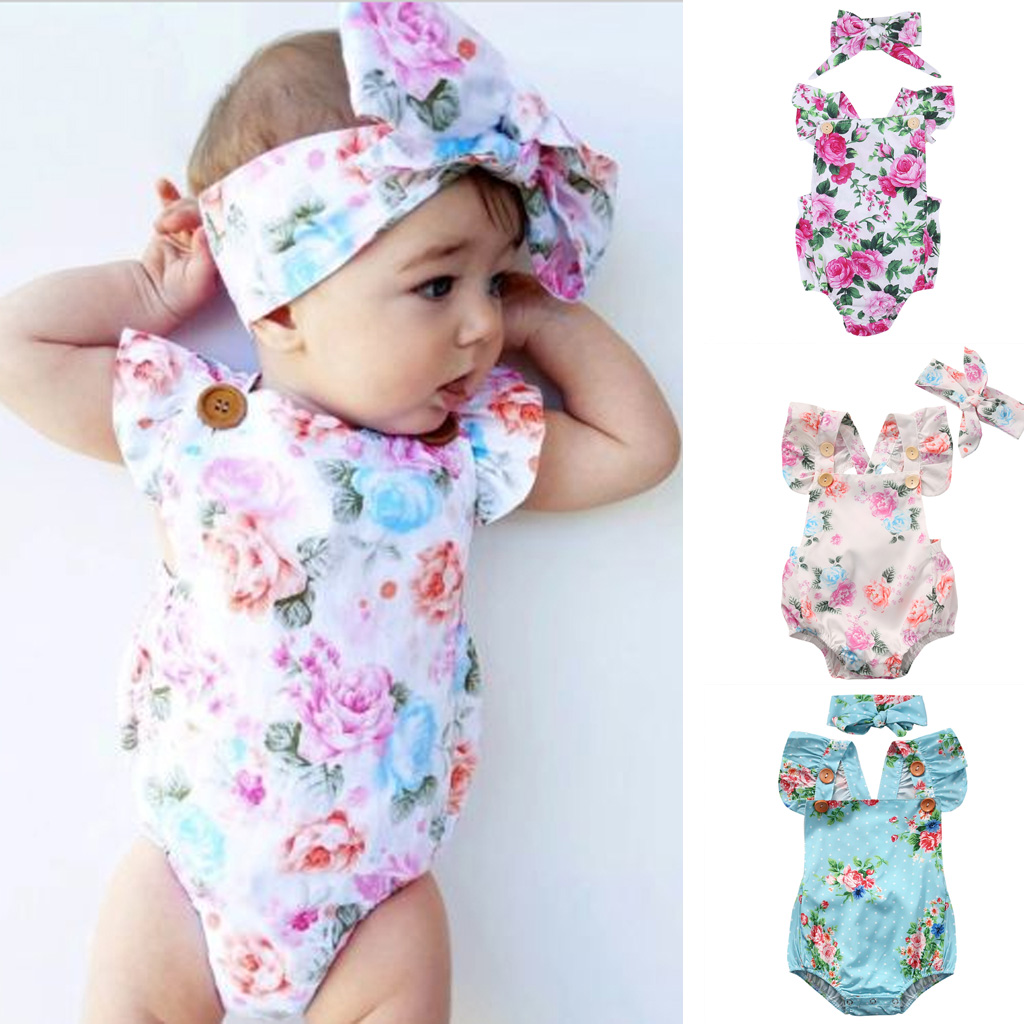 Baby Infant Bodysuit Girl Headband Jumpsuit Newborn Romper Outfit Floral Clothes