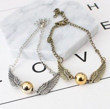 The New Quidditch Golden Snitch Pocket Bracelet Wings Vintage Retro Tone For Men And Women Wholesale(China)