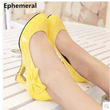 "Ladies Big size(4-12) bowtie Patent leather 2.4"" wedges round toe high heels single shoes women pumps yellow red white Kvoll"