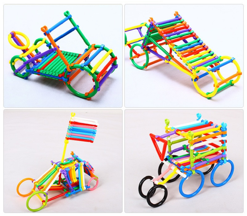 BD 256pcs Kids DIY Creative Intelligence Sticks Blocks Plastic Early Educational Magic Learning Building Blocks Toys Gift 5
