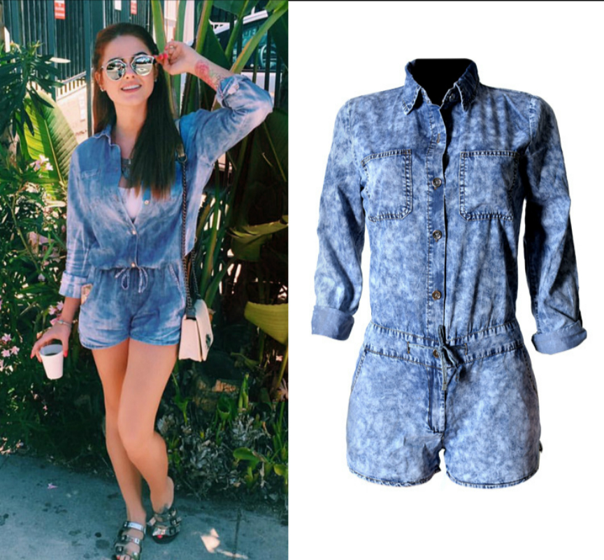 2019 High Quality Denim Jumpsuits Women Cotton Long Sleeve Shorts Playsuits Femme Tencel Snowflake Push Up Lapel Overall Mujer