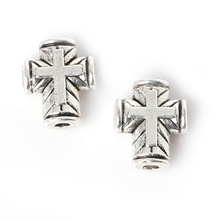 New Arrival 16pcs/bag 8*10mm Antique Sliver Plated Zinc Alloy Metal Charms Cross Beads For Jewelry Making Findings