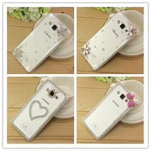New 3D White Flower Bling Crystal Diamond Cell Phone Shell Back Cover Hard Case For Samsung Galaxy core 2 core2 G355H G355