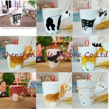 50pcs New 25 color arrival Creative gift Ceramic coffee milk tea mug 3D animal shape Hand painted animals Giraffe Cow Monkey cup