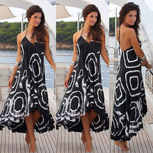 Buy Women Sexy Summer V Neck Halter String Strappy Shoulder Dress Boho Maxi Long Beach Dress Square Printing Chic Dresses
