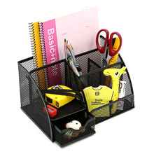 Mesh Office Desk Organizer with 6 Compartments + Drawer | The Mesh Collection, Black(China)