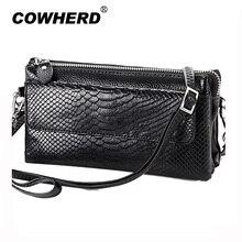 2018 Hot Women Clutch Bag Serpentine Prints Genuine Cow Leather Wallets Fashion Wristlet Change Phone Purse Handbag 712