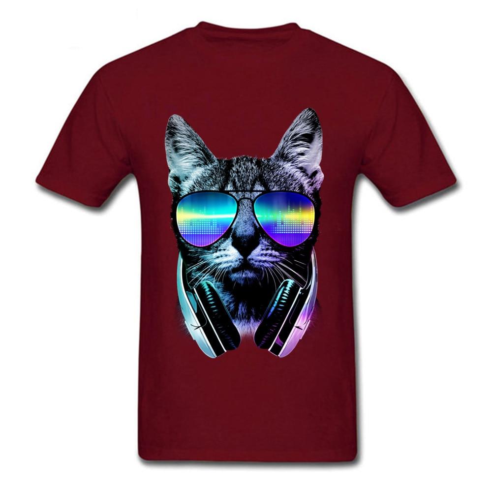 Music Lover Cat Cotton Hip hop Tops Shirt 2018 Hot Sale Short Sleeve Men's T Shirt Normal Summer T Shirts Crewneck Music Lover Cat maroon