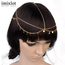 Imixlot Hot Beach Multi Layer Metal Gold Head Chain Hair Jewelry Tassel Round Sequin Women Hair Accesories Boho Headband