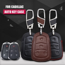 A&P--Fashion cow leather car key pack cover / key case holder shell keychain accessories for Cadillac XTS SLS CTS XTS SRX
