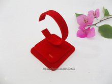 High Quality 3pcs x Red Velvet Bracelet Display Stand C Callar Holder Bangle Showing Rack Shelf Jewelry Display Props(China)