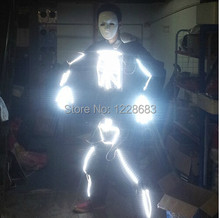 New Arrival Led Light Suit Men light Up Costumes Skull Led Robot Suit Courier Express Free Shipping(China)