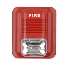 Fire Alarm Siren Red Sound and White Flash Light for Fire Safety Systems