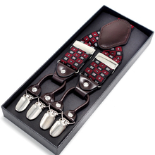 Fashion Vintage 3.5cm Brown Leather Suspender Male Strap Elastic Cinta Casual Braces 6 clips Y-back Shape Belt 19 colors MBD8686(China)