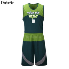 Men Cheap Basketball Jerseys Sets High Quality Blank Sports Running Clothing Adult Short Shirts Uniforms Suits 2017 New(China)