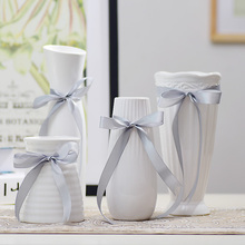 White vase Ceramic flower vase home decor desktop flower pots with silk wedding flower vases party decor(China)