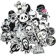 50 Black White Cool Funny Car Stickers Vinyl Decal Car Styling Bicycle Travel Luggage Home Laptop Sticker JDM Car Accessories