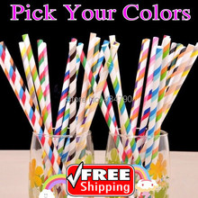 200pcs Pick Your Colors Double Color Stripe Vintage Paper Straws Party Blue Green Pink Orange Purple Gold Silver Red Black Cheap(China)