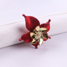 2pc Fashion Napkin Rings Flower Napkin Holder Serviette Ring Red Napkin Circle Western Dinner Towel Ring Party Table Decoration(China)