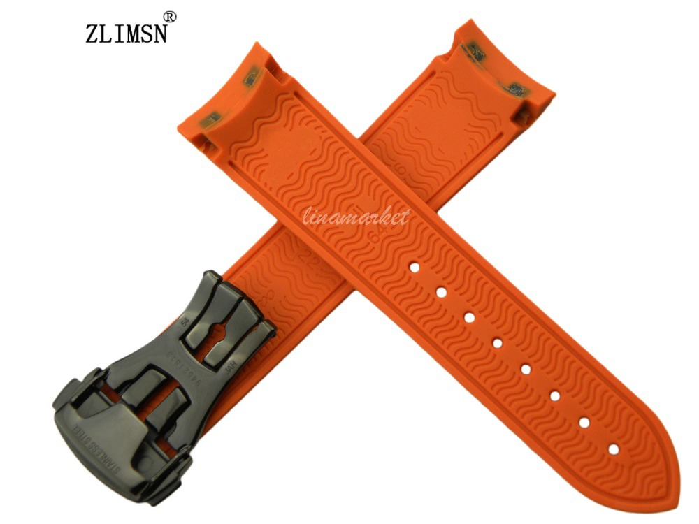 22mm (Buckle 20mm) NEW TOP GRADE Orange Waterproof Diving Silicone Rubber Watchband Straps with Black buckle<br><br>Aliexpress